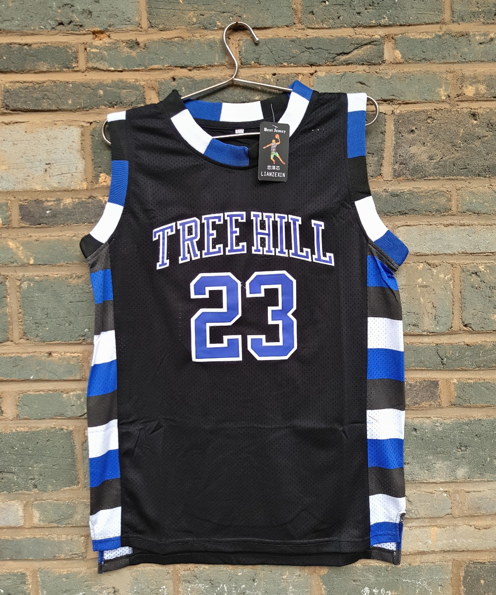 все цены на 2015 LIANZEXIN NO.23 The film version of One Tree Hill Nathan Scott Need double stitched mesh basketball jersey Black color онлайн