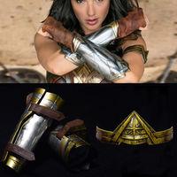 1 1 Cosplay Halloween Wonder Woman Arm Bracers Gauntlet Cuffs Headband Crown Set