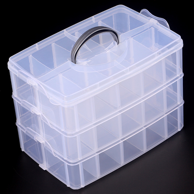 3 Layer Plastic Jewelry Storage Box Ring Earring Beads Storage Organizer Bin Display Case With Compartment