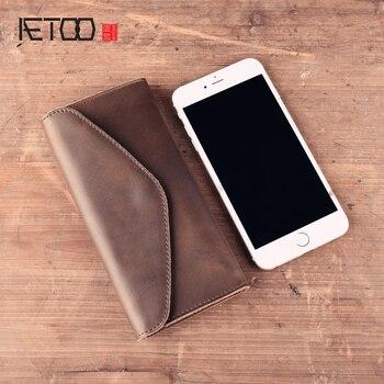 AETOO Handmade dompet kulit Asli retro kulit barang gesper panjang dompet amplop tas ponsel paket dompet Antik