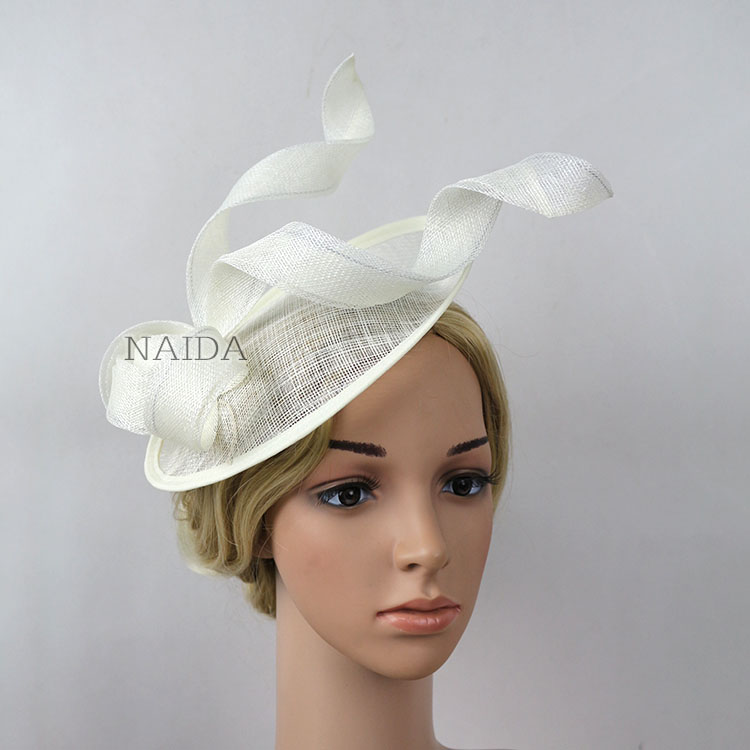 New ladies black white sinamay hat brand luxury hat women big wedding hats  and fascinators-in Women s Hair Accessories from Apparel Accessories on ... 8338eb5d9ec