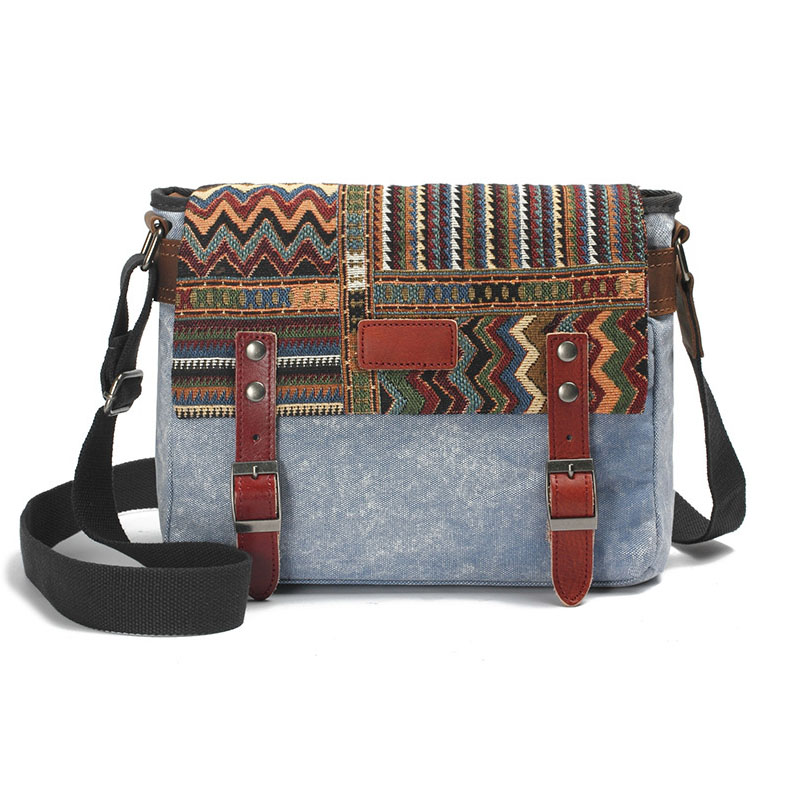 Fashion Vintage Women & Men Leather Canvas Shoulder Bag With Ethnic Embroidery High Quality Canvas Crossbody Chest Bag G039 japanese pouch small hand carry green canvas heat preservation lunch box bag for men and women shopping mama bag