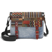 Fashion Vintage Women & Men Leather Canvas Shoulder Bag With Ethnic Embroidery High Quality Canvas Crossbody Chest Bag G039