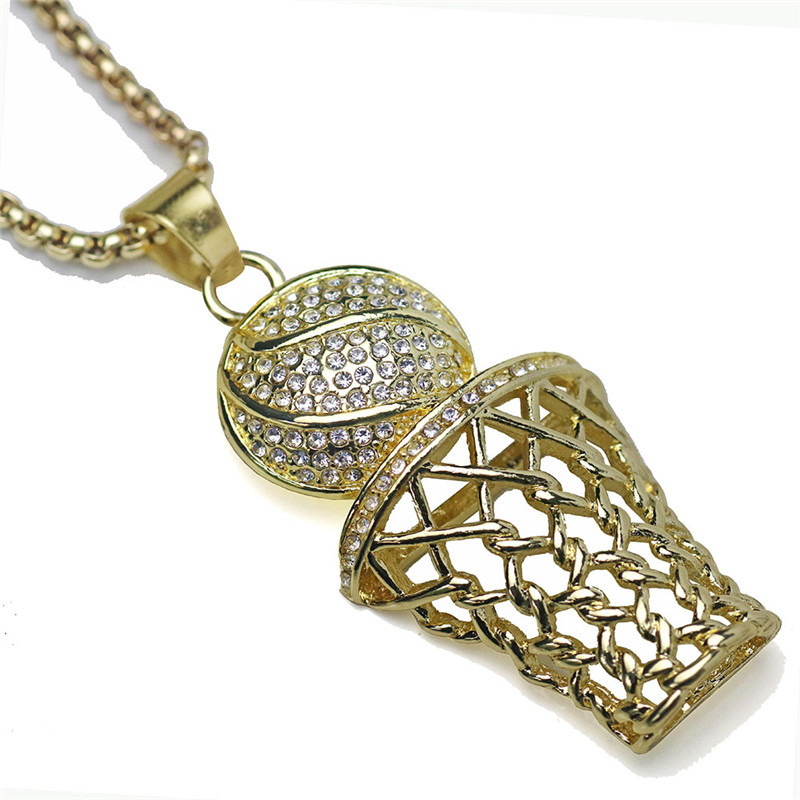 LOOKER Iced Out Basketball Hoop Pendant Necklaces Gold Color Stainless Steel Chain Necklace Men Sports Hip Hop Jewelry