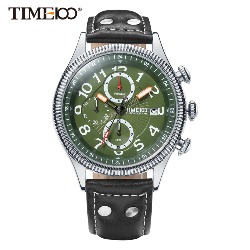 Time100 Watches Men Leather Strap Quartz Watches green dial Calendar Auto Date Business Casual Wrist Watches relogios masculino 2018 time100 women watches chronograph diamond auto date sport leather strap casual quartz wrist watches for women relojes mujer