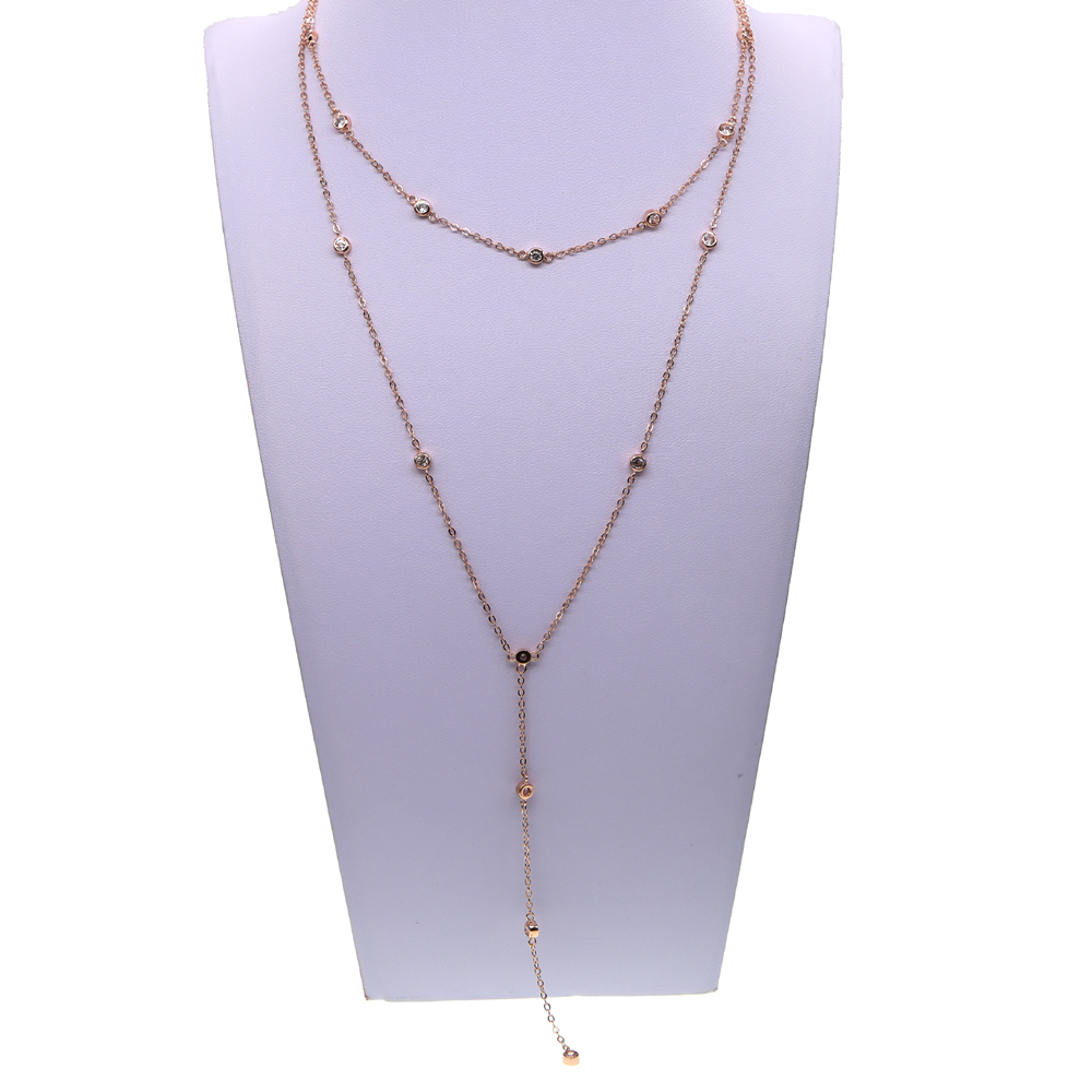 2017 fashion bling 3mm bezel cz link chain choker lariat sexy women design double layer cz station yard chain necklace