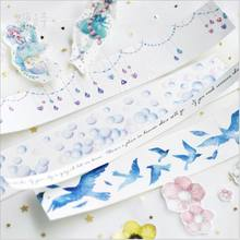 Sky Girl Flying Skirt Blue Bird Diamond Chain Blow Bubbles Decoration Washi Tape DIY Planner Diary Scrapbook Masking Tape Escola(China)
