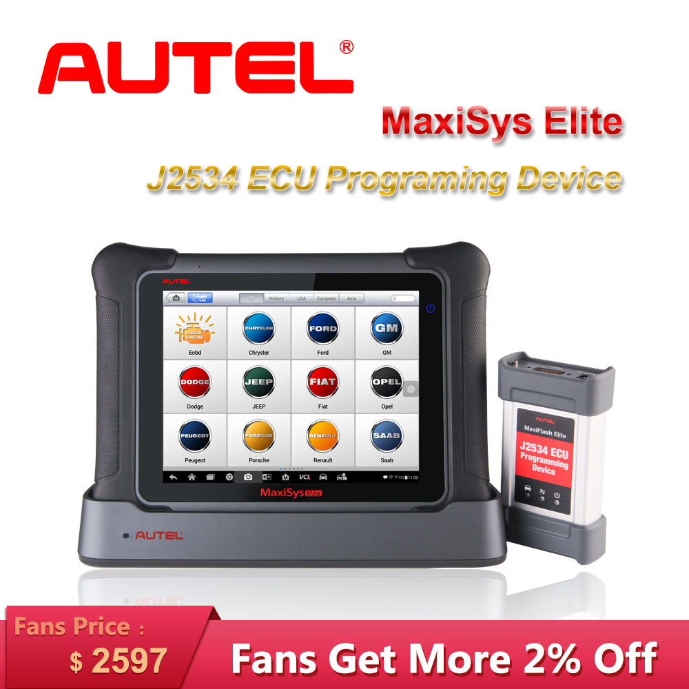 Autel MaxiSys <font><b>Elite</b></font> Auto Diagnostic Tool Scanner J2534 Program ECU Programing OBD2 Car Diagnostic Scanner Tool Better than <font><b>MS908</b></font> image