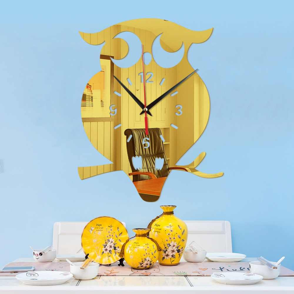 Kreatywny 3D DIY sowa zegar ścienny naklejki akrylowe kwarcowe zegary ścienne salon ściana kuchenna zegary salon Home Decor 60025