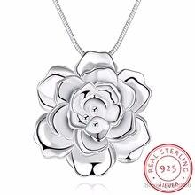 LEKANI, 925 пробы, серебряное ожерелье в виде лотоса, s& Подвески для женщин, элегантный цветок, короткое ожерелье, Стерлинговое Серебро, хорошее ювелирное изделие, бижутерия