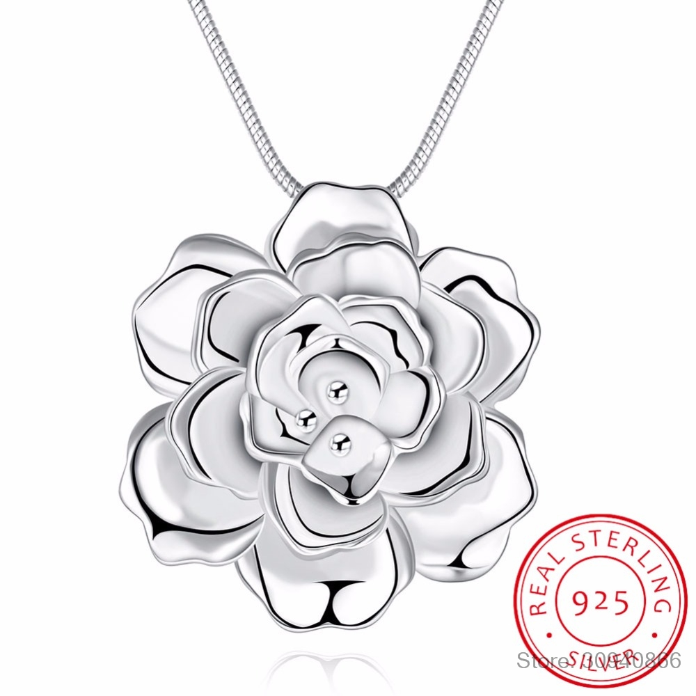 LEKANI 925 Sterling Silver Lotus Necklaces & Pendants For Women Elegant Flower Short Necklace Sterling Silver Fine Jewelry Bijou