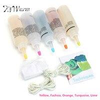 Kiwarm 5 colores del arco iris un paso tie Dye kit tinte activado + 40 unids gomas 4 pares Guantes telas textil Materiales de bricolaje