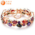 Fashion Luxury Children Anti-allergic Copper Bracelet Length 15CM Blue&Clear Stone Cubic Zircon Bracelet for Children Girl
