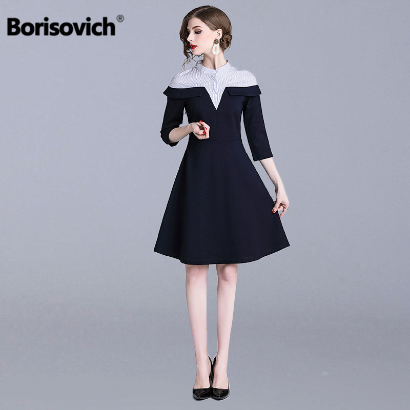 Borisovich Ladies Elegant Party Dress New 2019 Spring Fashion Patchwork Ruffles Knee length A line Women Casual Dresses N676-in Dresses from Women's Clothing on AliExpress - 11.11_Double 11_Singles' Day 1