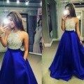 Arabia Saudita Azul Real Vestidos de Noche Backless Atractivo Moldeado Cristalino Del Rhinestone Largo Glitter Vestido de Partido de Los Vestidos Por Encargo