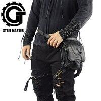 Steampunk Men's Leather Black Shoulder Bags Messenger Pack Cool Waist Bag New Wallet Multipurpose Bag With Belt