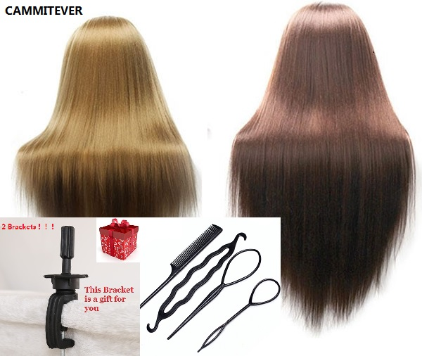 CAMMITEVER 2Pcs Blonde Brown Mannequins With 2 Brackets 4 Tools For Hairdress Training H ...