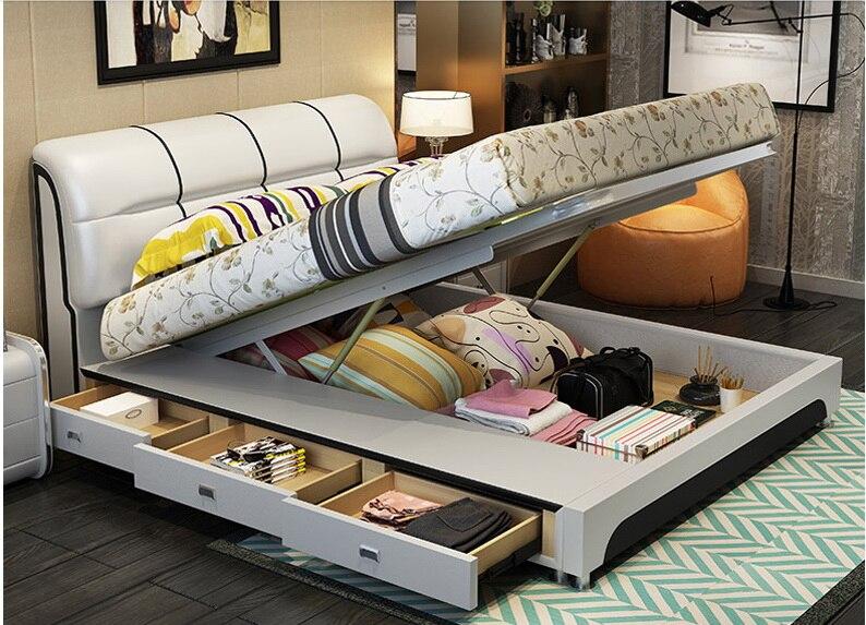 Véritable cuir cadre de lit avec rangements tiroirs Moderne Lits Moelleux Maison Chambre Meubles cama muebles de dormitorio camas quarto