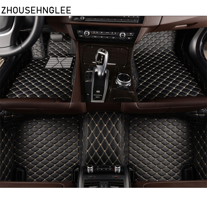 Custom Car Floor Mats Fit for BMW X5 E70 F15 2004-2007 Full Coverage All Weather Protection Waterproof Non-Slip Leather Liner Set Black
