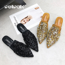 купить Fashion Ladies Slippers Women Pointed Toe Shoes Heel Slides Designer Mules Shoes Blings  Metal Decoration Slippers по цене 1630.1 рублей