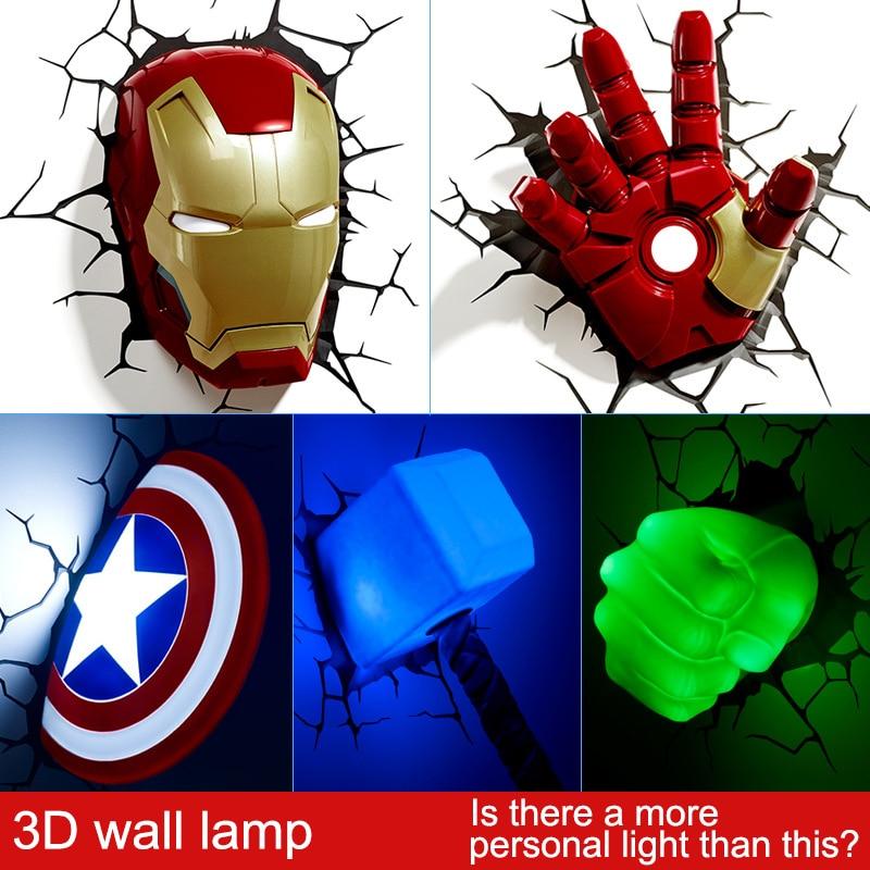 Artpad 3D Wall Sticker Lamp Marvel Toys Avengers Iron Man Iron Man Hulk Captain America LED 3D Light Fixtures For Boy Bedroom artpad marvel toys figure iron man iron man hulk captain america shield mjolnir spider man avengers 3d wall light