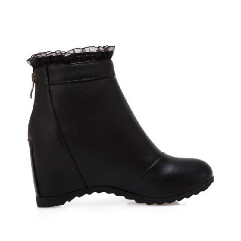 Moda Beige Botas Mujeres Tacones Cortas Calzado 43 Mujer Tobillo En Zapatos Tamaño De negro Taoffen Encaje 33 blanco xqOXZfg