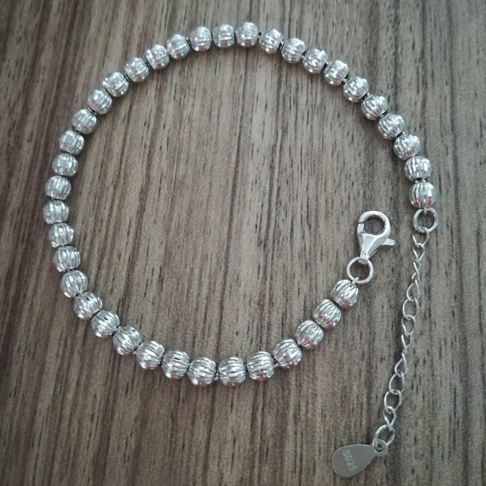 d3329345f135 Comprar Pulsera de cadena hecha a mano con cuentas de plata de ley 925 para  mujer 4mm 17 cm con cadena extensora de 3 cm Online Baratos.