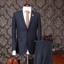 100% Wool Winter Single Breasted Warm Men Slim Fit Suits Royal Blue Plaid Tuxedo Wedding Groom Brand Clothing 3pcs Set 3XL Plus