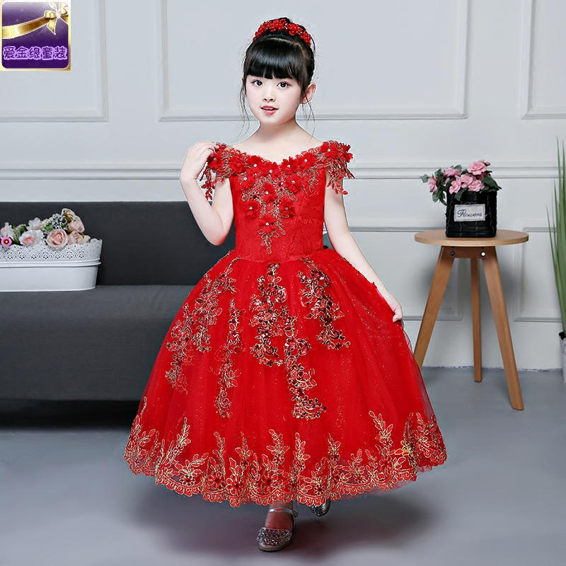 2-12Y Red Flower Girl Dress Off Shoulder Kids Pageant Gowns Princess Dress Ball Gown Lace Appliques Communion Dresses E307 red off shoulder lace up elastic waistband casual co ords
