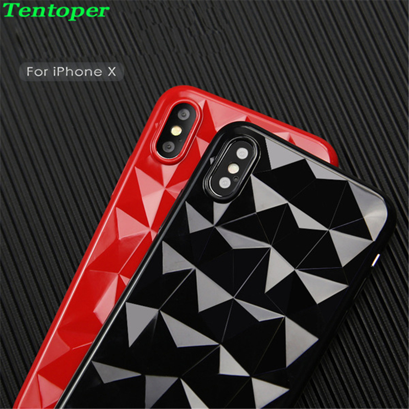 3D Diamond Pattern Phone Case For iPhone X 8 7 6 6s Plus Case Luxury Ultra Thin Soft TPU Back Cover For Samsung S8 S9 Plus Funda