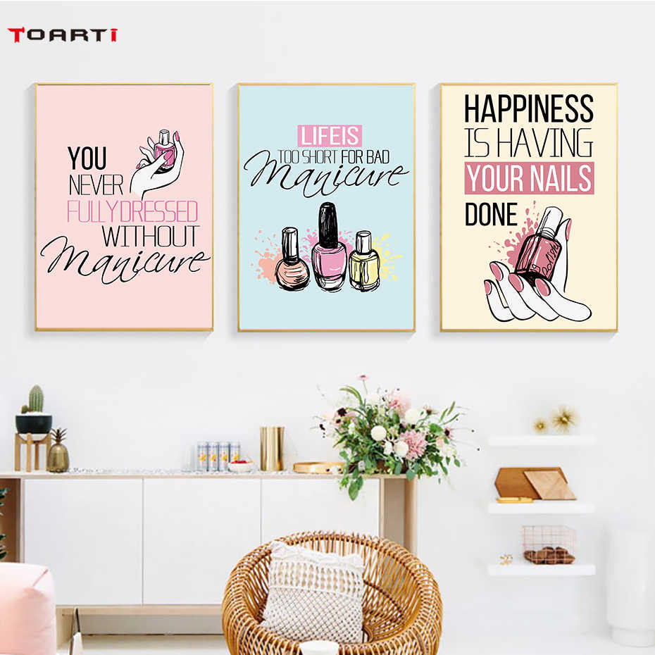 modern Nail Polish Quotes Wall Art Canvas Painting Nordic Posters And Print Pop Art Salon Wall Pictures For Girl room home Decor