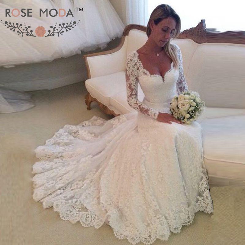 aa77b59714797 エレガント な ロング スリーブ レース マーメイド ウェディング ドレス イリュージョン戻る花嫁衣装vestidos デ noiva