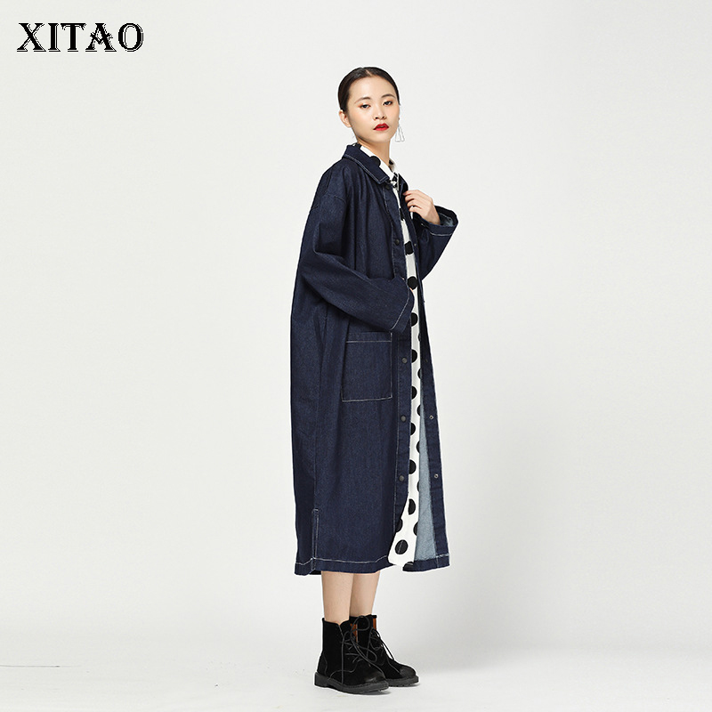 [XITAO] Wide-waisted Single Breaster Turn-down Collar Women 2018 Autumn Korea Fashion Solid Color Full Sleeve   Trench   LJT4150