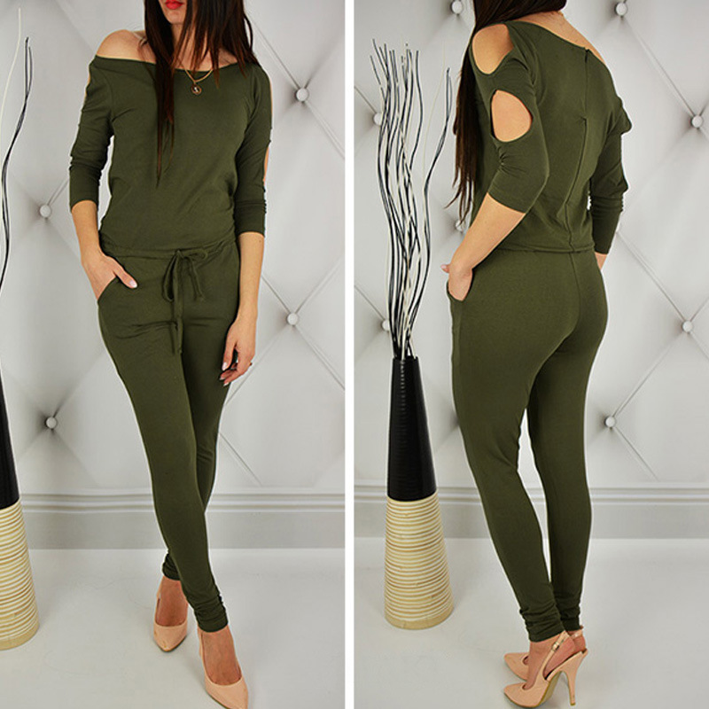 Women cotton bandage lace up hollow out long sleeve   jumpsuit   Casual Rompers for female women off shoulder   jumpsuits   women