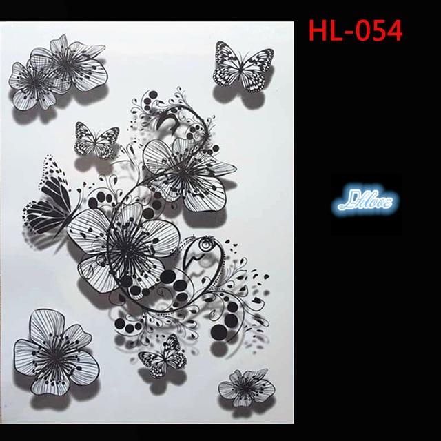 Hl 054 black and white ink flower style design 3 d body tattoo hl 054 black and white ink flower style design 3 d body tattoo temporary tattoos mightylinksfo