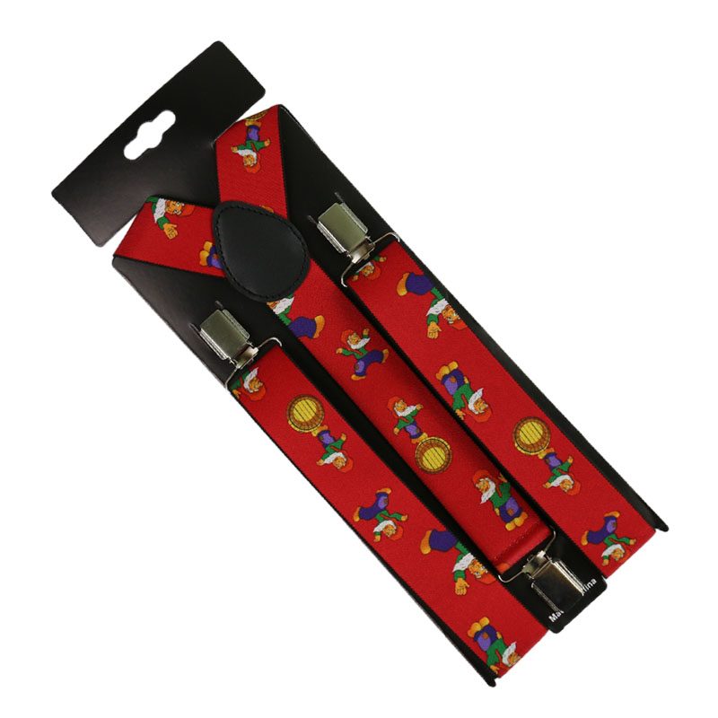 HUOBAO Fashion 1 Inch Santa Claus Pattern Mens Womens Unisex Clip-on Suspenders Elastic Y-Shape Adjustable Braces