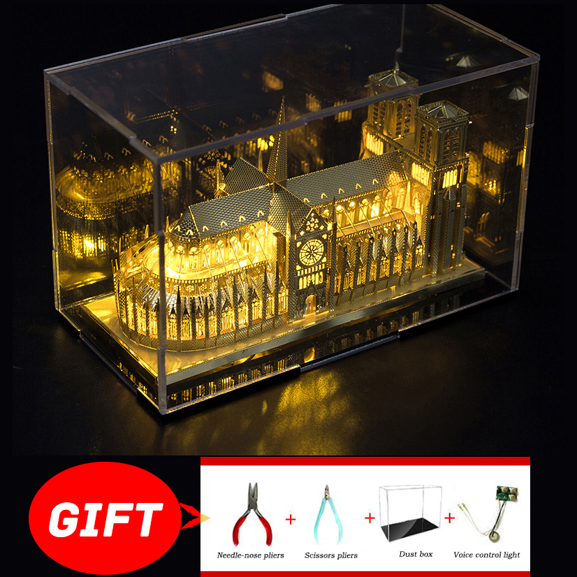 YES Piececool Notre Dame De Paris Sydney Opera House Paris Tower Light 3D Metal Assembly Architectural Model Puzzle Children Toy