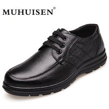 New Arrival Men's Casual Shoes Genuine Leathe Business Loafers Male Moccasins Flats Fashion Breathable Lace-Up Shoes MUHUISEN
