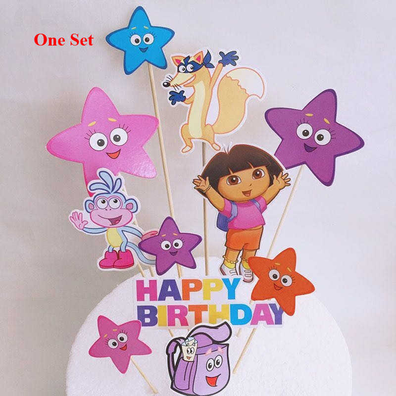 Magnificent Baby 1St Birthday Supplies Monkey Star Dora Cupcake Toppers Cake Funny Birthday Cards Online Alyptdamsfinfo