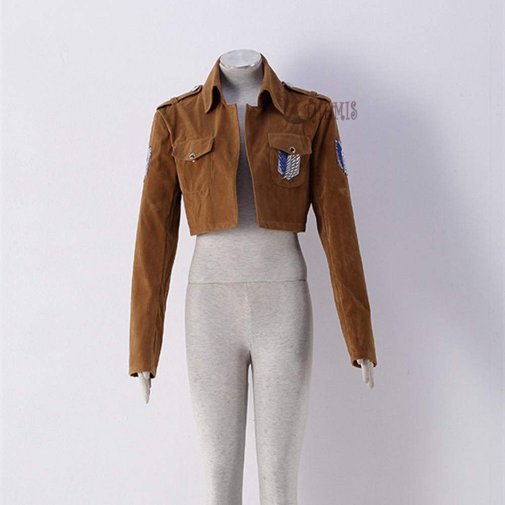 Athemis Attack On Titan Coat Jacket For Eren Levil Mikasa Ackerman High Quality Suede Fabric Any Size