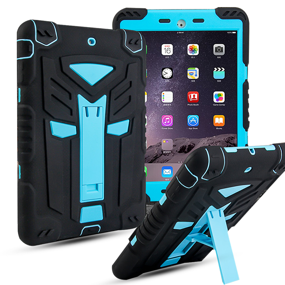 For iPad air Case 360 Full Shockproof Heavy Duty Silicone Hard Cover 3 in 1 Protection Stand Case For ipad 5/ipad 9.7 2017 Case tablet case for ipad air 2 a1567 extreme heavy duty shockproof rubber cover with stand hard cover case for ipad pro 9 7 inch