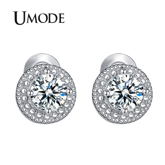 12be43a60 UMODE White Gold Color Micro Round CZ Crystal Stud Earrings for Women  Jewelry Fashion Boucle D'oreille Femme Accessories UE0259
