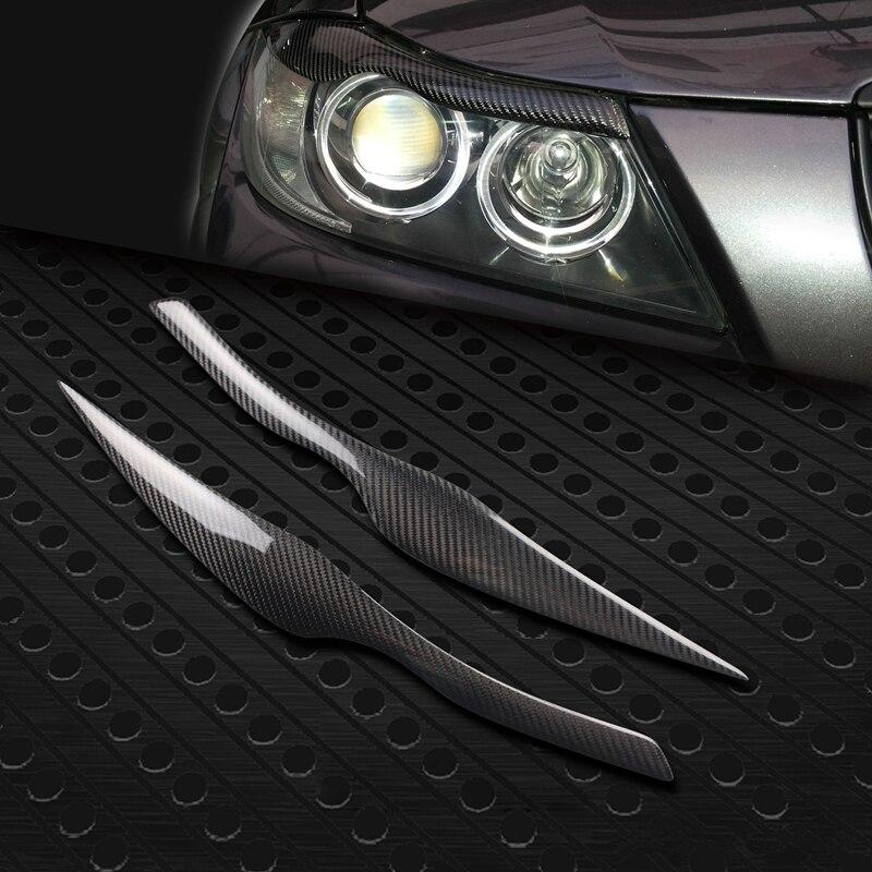 Free shipping 100% Real Carbon Fiber Headlights Eyebrows Eyelids for BMW E90 E91 4DR  2005 - 2011 free shipping carbon fiber headlight covers eyelids eyebrows fit for mazda 6 vi ruiyi 09 13