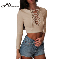 Avodovama M Casual Knitted Women Blouse Lace Up Bandage Sexy V Neck Solid Tops