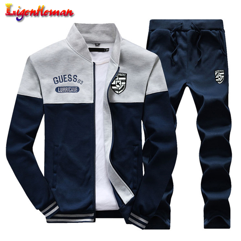 Men Spring Autumn New Arrival 2019 Slim Tracksuit Sporting Suit And Men Casual Sweatshirt+Sweatpants Two Pieces Tracksuit KV586