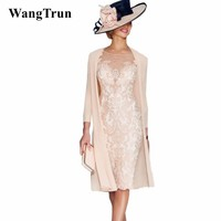 Elegant 2019 Mother Of The Bride Dresses Sheath 3/4 Sleeves Knee Length Pearls Wedding Party Dress Mother Dress For Wedding