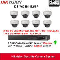 Hikvision Security Camera System 4MP IP Camera 8pcs DS 2CD2142FWD IWS Wifi Camera Audio POE IP67with