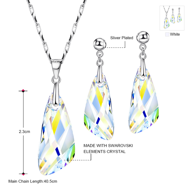 Neoglory Jewelry Sets MADE WITH SWAROVSKI ELEMENTS With Earrings Necklace Transparent For Women 2017 New Gifts T1