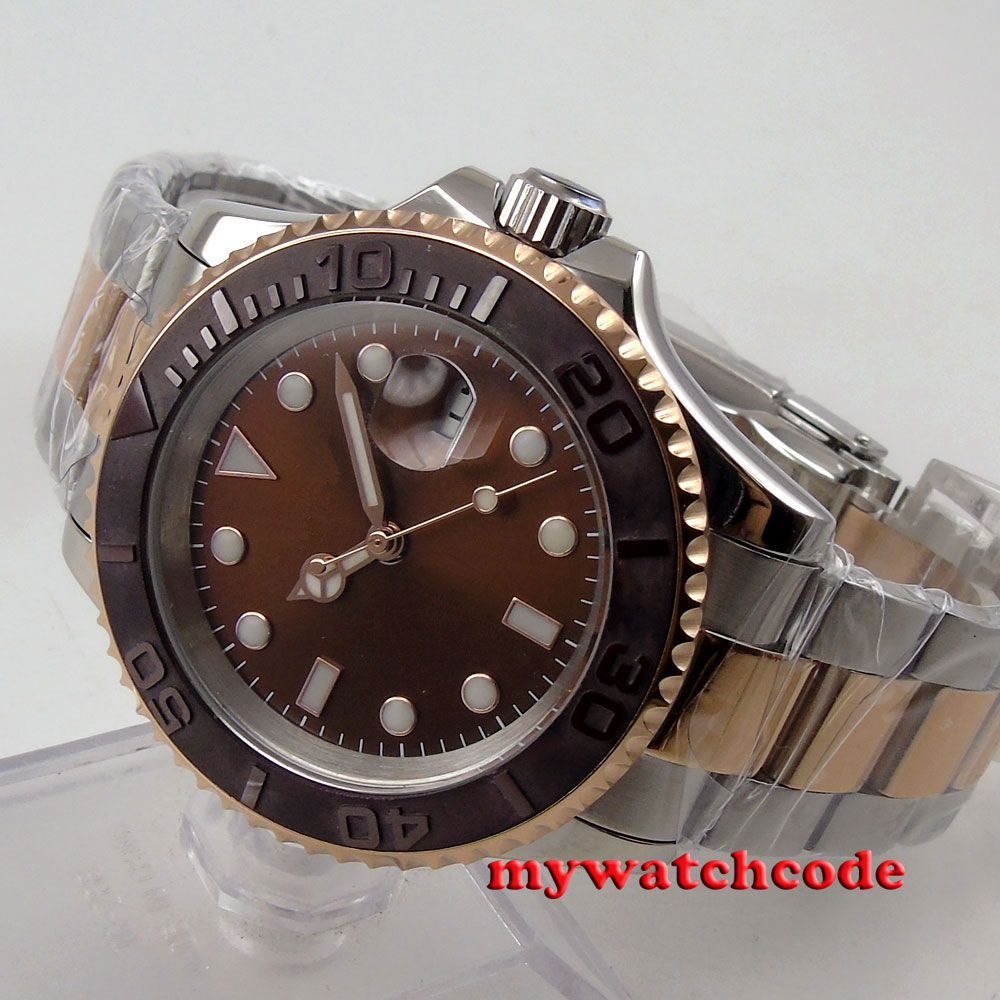 40mm parnis brown dial sapphire crystal deployment clasp automatic mens watch 85 teana сыворотка завтрак для кожи 10 амп 2 мл