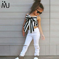 2017 Hot Girls Set Tops and Pants 2 Pieces Summer Stripes Ribbon Short Sling Fashion Hole Pants European Style Children's Suits